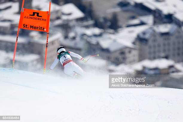 Nicole Schmidhofer of Austria competes during the FIS Alpine Ski World Championships Women's Downhill on February 12 2017 in St Moritz Switzerland