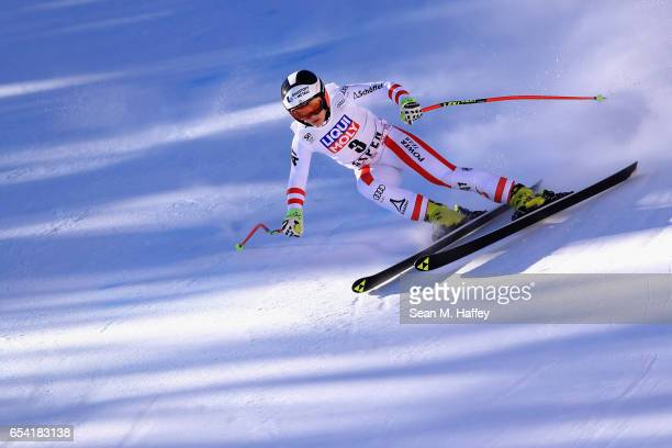 Nicole Schmidhofer of Austria competes in the ladies' SuperG for the 2017 Audi FIS Ski World Cup Final at Aspen Mountain on March 16 2017 in Aspen...
