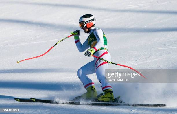 Nicole Schmidhofer of Austria finishes in third place during the FIS Ski World Cup Women's Super G on December 3 2017 in Lake Louise Canada / AFP...