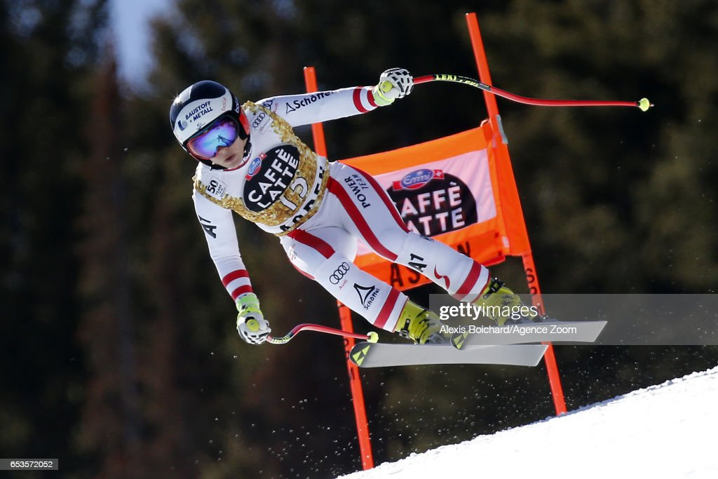 Nicole Schmidhofer of Austria in action during the Audi FIS Alpine Ski World Cup Finals Women's and Men's Downhill on March 15, 2017 in Aspen, Colorado
