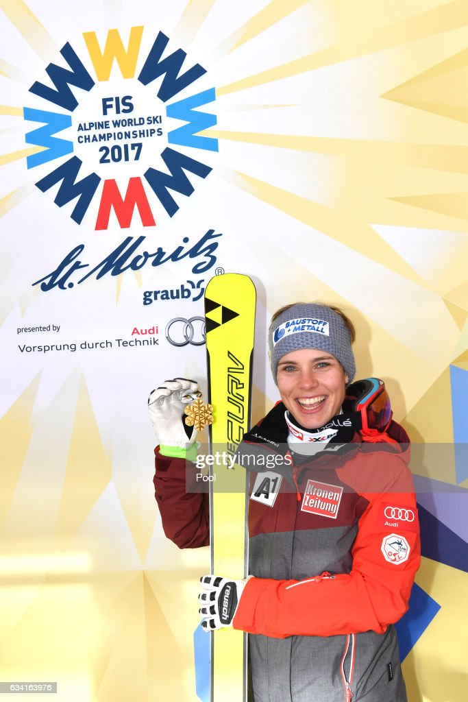 Nicole Schmidhofer of Austria poses with the gold medal during the medal ceremony for the Women's Super G during the FIS Alpine World Ski Championships on February 7, 2017 in St Moritz, Switzerland.