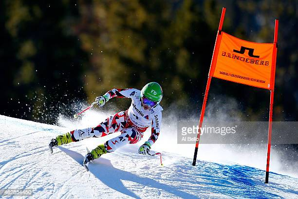Nicole Schmidhofer of Austria races during the Ladies' Downhill on the Raptor racecourse on Day 5 of the 2015 FIS Alpine World Ski Championships on...