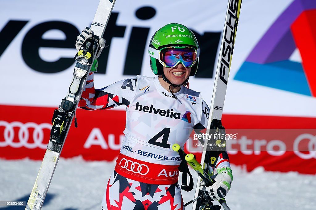 Nicole Schmidhofer of Austria reacts after crossing the finish of the Ladies' Downhill in Red Tail Stadium on Day 5 of the 2015 FIS Alpine World Ski Championships on February 6, 2015 in Beaver Creek, Colorado.