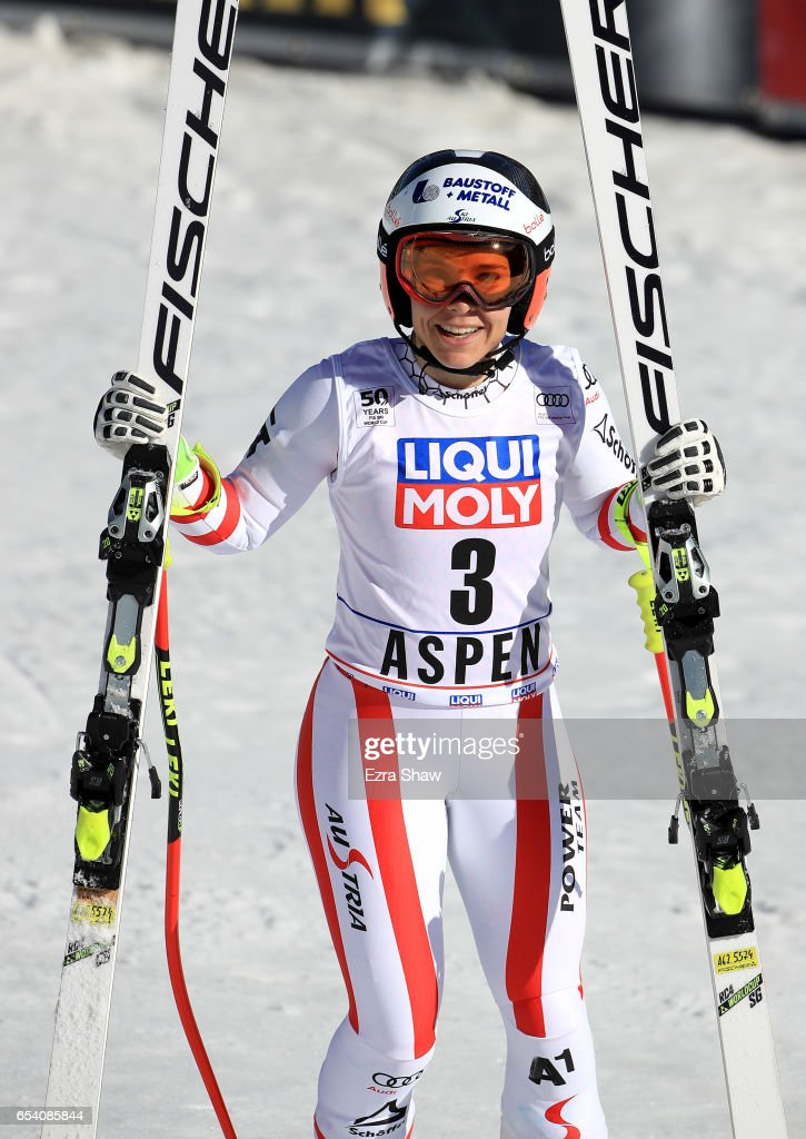 Nicole Schmidhofer of Austria reacts at the finish line after competing in the Super-G during the Audi FIS Ski World Cup Finals at Aspen Mountain on March 16, 2017 in Aspen, Colorado.