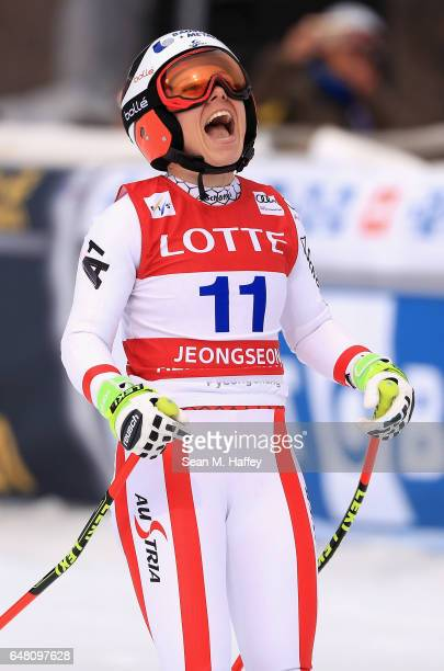 Nicole Schmidhofer of Austria reacts at the finish line of the Audi FIS Ski World Cup 2017 Ladies' SuperG on March 5 2017 in Jeongseongun South Korea