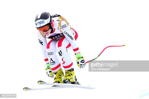 Nicole Schmidhofer of Austria skis during a training run for the ladies' downhill at the Audi FIS Ski World Cup Finals at Aspen Mountain on March 13...