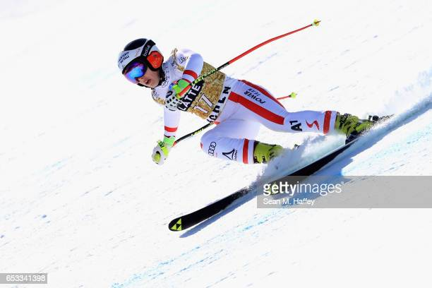 Nicole Schmidhofer of Austria skis during a training run for the ladies' downhill at the Audi FIS Ski World Cup Finals at Aspen Mountain at Aspen...