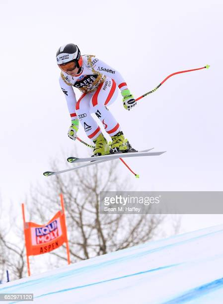 Nicole Schmidhofer of Austria skis during a training run for the men's downhill at the Audi FIS Ski World Cup Finals at Aspen Mountain on March 13...
