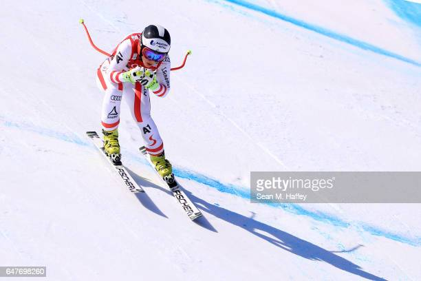 Nicole Schmidhofer of Austria skis the course during the Audi FIS Ski World Cup 2017 Ladies' Downhill at the Jeongseon Alpine Centre on March 4 2017...