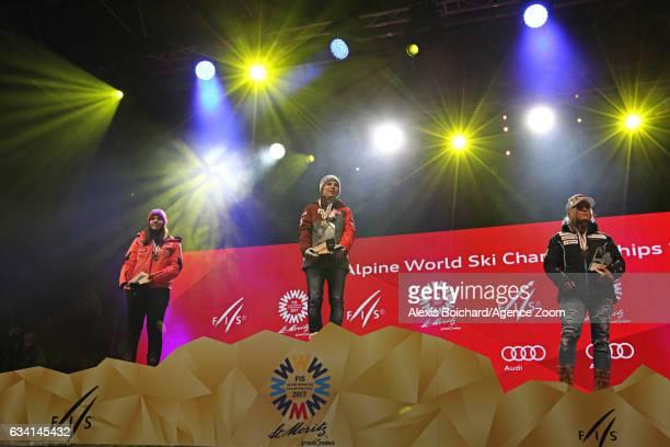 Nicole Schmidhofer of Austria wins the gold medal Tina Weirather of Liechtenstein wins the silver medal Lara Gut of Switzerland wins the bronze medal...