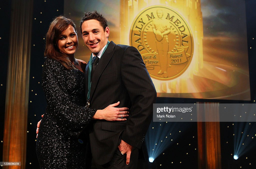 Nicole Slater and Billy Slater pose fo r photos after Billy won the Dally M Medal during the 2011 Dally M Awards at the Royal Hall of Industries, Moore Park on September 6, 2011 in Sydney, Australia.
