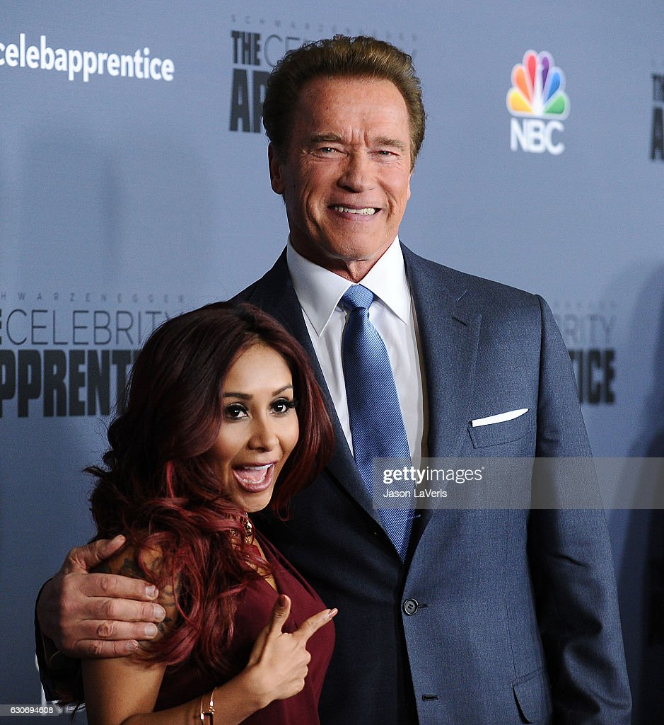 Nicole 'Snooki' Polizzi and Arnold Schwarzenegger attend the press junket For NBC's 'Celebrity Apprentice' at The Fairmont Miramar Hotel & Bungalows on January 28, 2016 in Santa Monica, California.