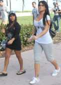 Nicole 'Snooki' Polizzi and Jenni 'JWoww' Farley is sighted on South Beach on April 6 2010 in Miami Beach Florida