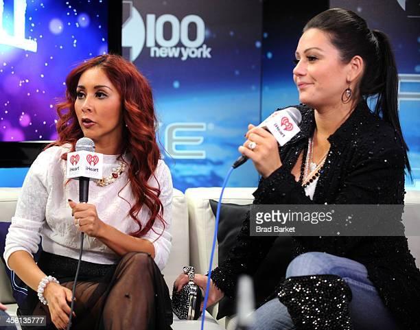 Nicole 'Snooki' Polizzi and Jennifer 'JWoww' Farley speak backstage at Z100's Jingle Ball 2013 presented by Aeropostale at Madison Square Garden on...
