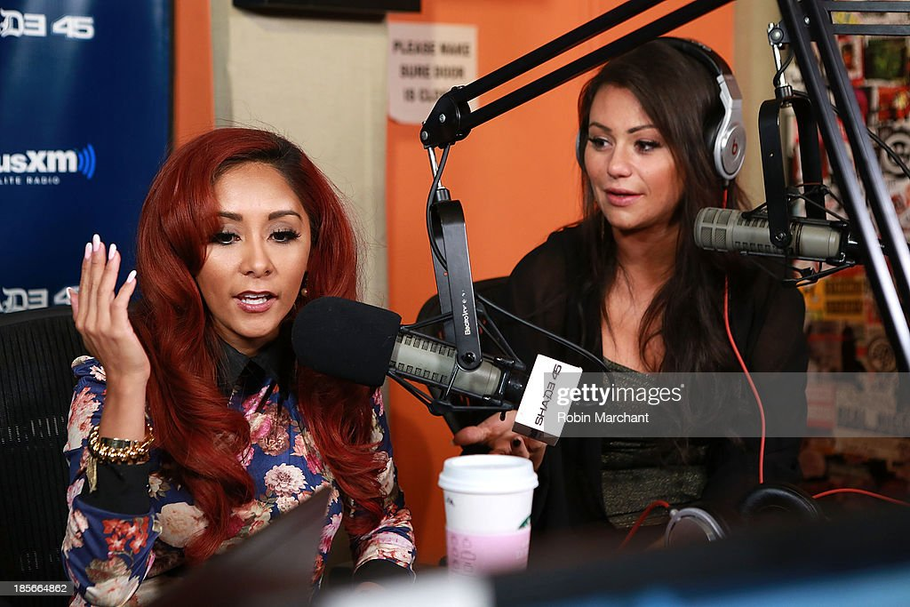 Nicole 'Snooki' Polizzi (L) and Jennifer 'JWoww' Farley visit 'Sway in the Morning' at SiriusXM Studios on October 23, 2013 in New York City.