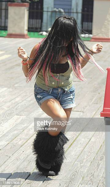 Nicole 'Snooki' Polizzi filming on location for 'Jersey Shore' on July 12 2011 in Seaside Heights New Jersey
