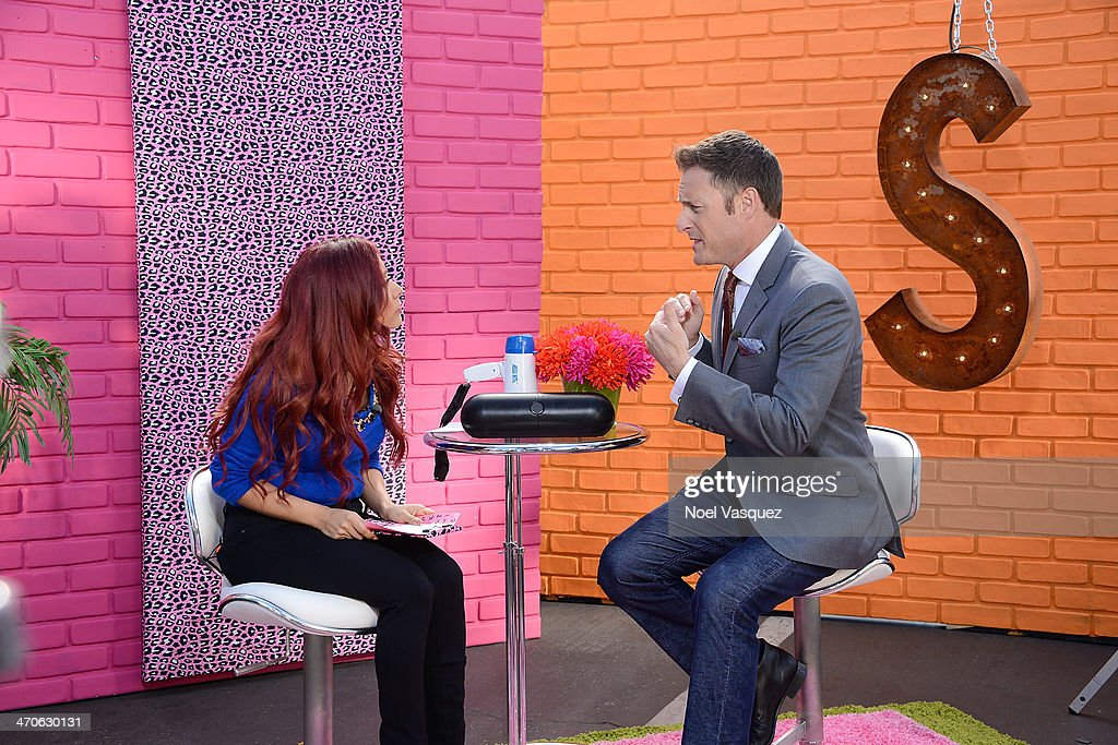 Nicole 'Snooki' Polizzi (L)minterviews <a gi-track='captionPersonalityLinkClicked' href=/galleries/search?phrase=Chris+Harrison&family=editorial&specificpeople=583468 ng-click='$event.stopPropagation()'>Chris Harrison</a> for her new tv show at 'Extra' at Universal Studios Hollywood on February 19, 2014 in Universal City, California.
