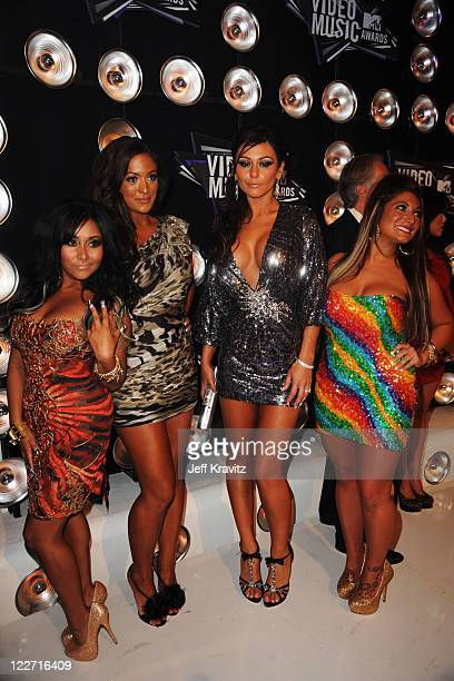 Nicole 'Snooki' Polizzi Sammi 'Sweetheart' Giancola Jenni 'JWoWW' Farley and Deena Nicole Cortese arrive at the 2011 MTV Video Music Awards at Nokia...