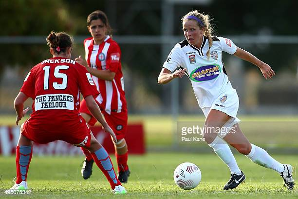 Nicole Stanton of the Glory controls the ball during the round three WLeague match between Perth Glory and Melbourne City FC at Ashfield Sports Club...
