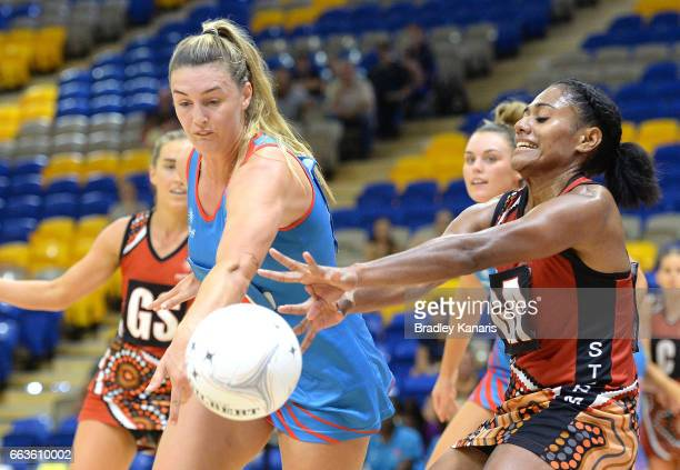 Nicole Styles of the Warathas is pressured by the defence during the round seven Australian Netball League match between the Storm and the Waratahs...