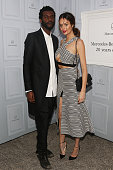 Nicole Trunfio and fiance Gary Clark Jr pose at MercedesBenz Fashion Week Australia 2015 at Carriageworks on April 14 2015 in Sydney Australia