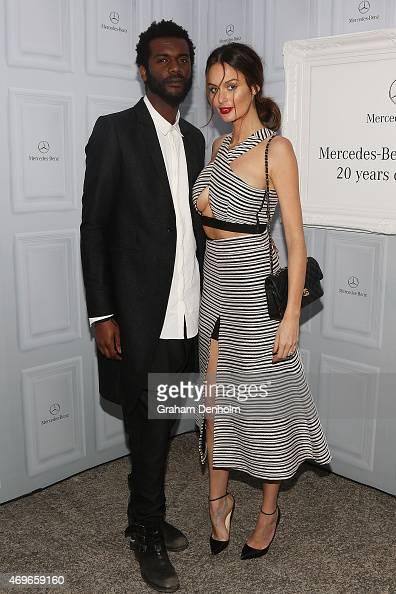 Nicole Trunfio and fiance Gary Clark Jr pose at MercedesBenz Fashion Week Australia 2015 at Carriageworks on April 14 2015 in Sydney Australia