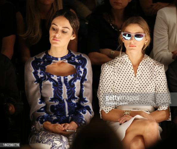 Nicole Trunfio and Olivia Palermo attend the Bibhu Mohapatra fashion show during MercedesBenz Fashion Week Spring 2014 at The Studio at Lincoln...