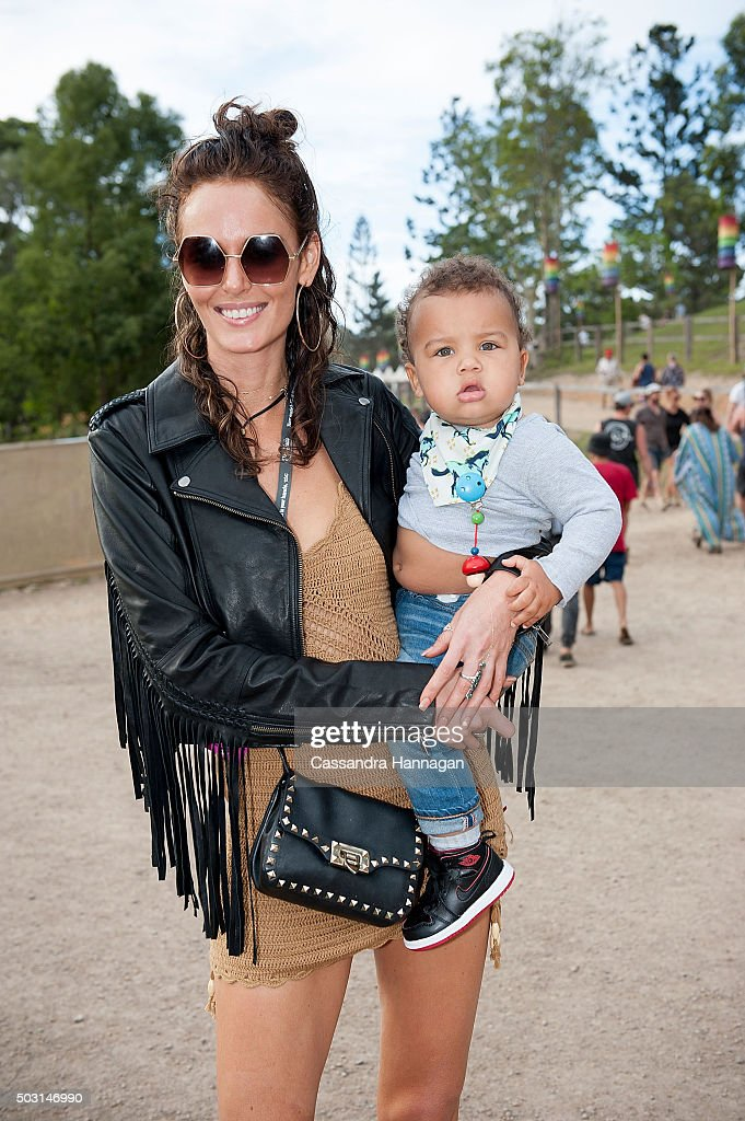 Nicole Trunfio arrives at Falls Festival ahead of fiance Gary Clarke Junior's performance on January 2 2016 in Byron Bay Australia