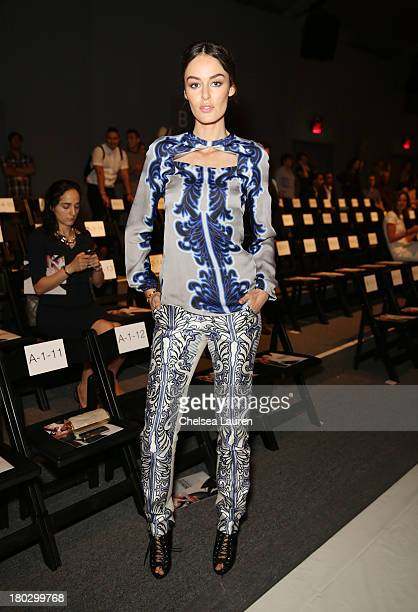 Nicole Trunfio attends the Bibhu Mohapatra fashion show during MercedesBenz Fashion Week Spring 2014 at The Studio at Lincoln Center on September 11...