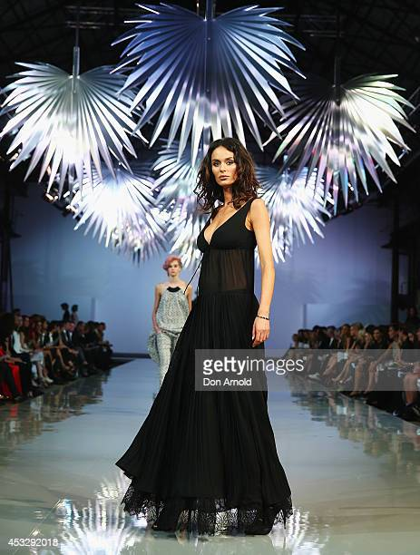 Nicole Trunfio showcases designs by Little Joe Woman during the Myer Spring Summer 2014 Fashion Launch at Carriageworks on August 7 2014 in Sydney...
