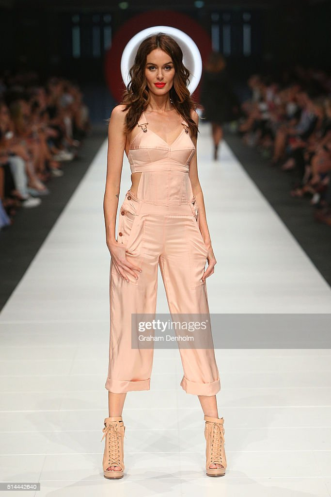 Nicole Trunfio showcases designs during the Jean Paul Gaultier x Target show during Melbourne Fashion Festival on March 9, 2016 in Melbourne, Australia.