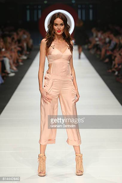 Nicole Trunfio showcases designs during the Jean Paul Gaultier x Target show during Melbourne Fashion Festival on March 9 2016 in Melbourne Australia