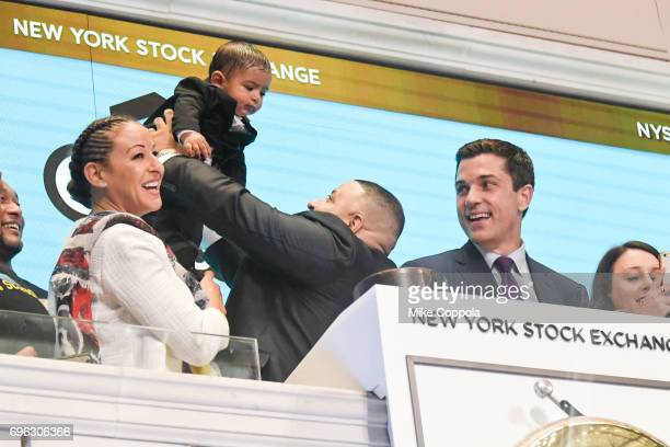 Nicole Tuck Asahd Khaled DJ Khaled and New York Stock Exchange President Thomas Farley visit the New York Stock Exchange opening bell to promote the...