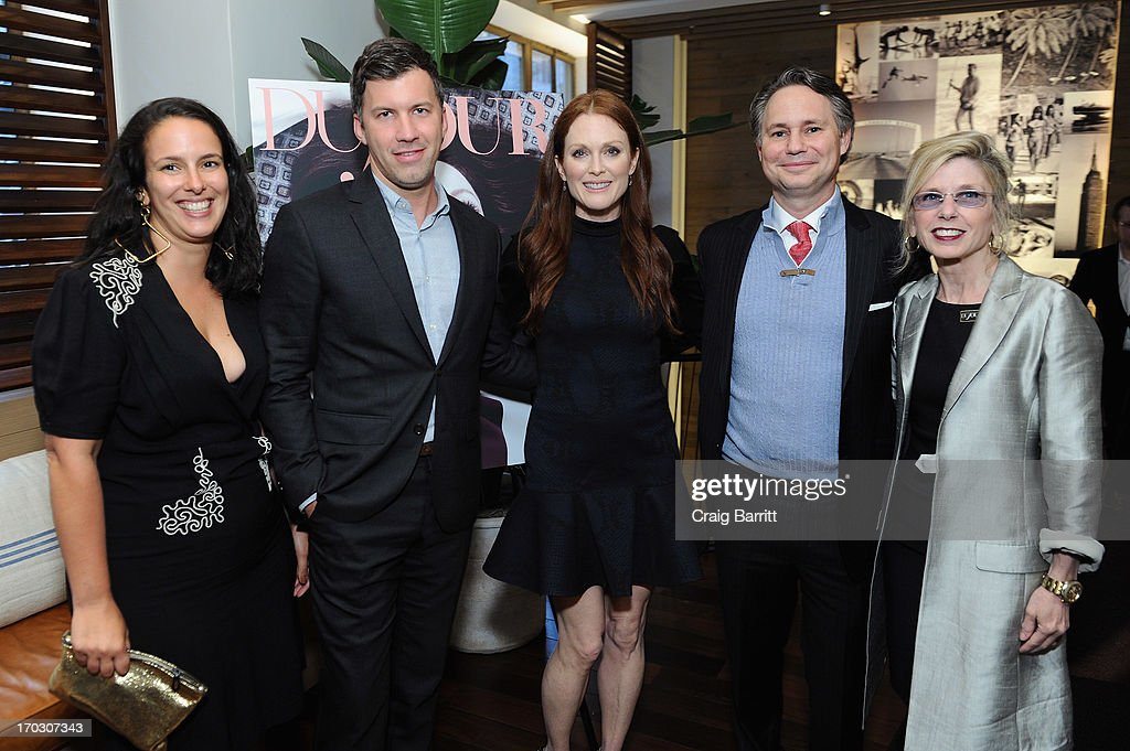 Nicole Vecchiarelli, Co-Editor in chief at DuJour Media, Keith Pollock, Co-Editor in chief at DuJour Media, actress Julianne Moore, Jason Binn, CEO/Founder of DuJour Media and Cindy Lewis, Executive VP of DuJour Media attend DuJour Magazine Summer Issue celebrating the Julianne Moore cover on June 10, 2013 at Marlin Bar at Tommy Bahama in New York City.