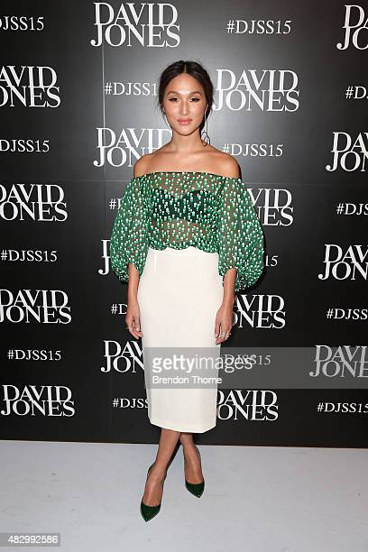Nicole Warne arrives ahead of the David Jones Spring/Summer 2015 Fashion Launch at David Jones Elizabeth Street Store on August 5 2015 in Sydney...