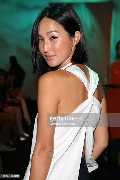 Nicole Warne attends the Bondi Bather show at MercedesBenz Fashion Week Australia 2015 at Carriageworks on April 15 2015 in Sydney Australia