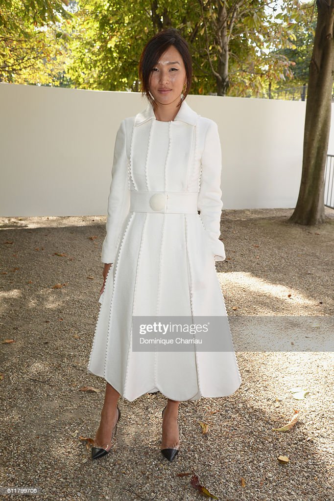 Nicole Warne attends the Elie Saab show as part of the Paris Fashion Week Womenswear Spring/Summer 2017 on October 1, 2016 in Paris, France.