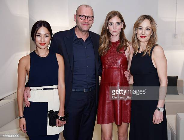 Nicole Warne Ulrich Grimm Chiara Ferragni and Laura Burdese during a Private Dinner hosted by Calvin Klein Watches Jewelery at Brasilea Foundation on...