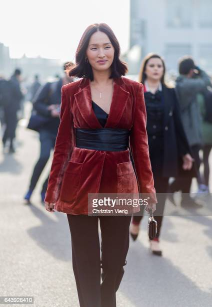 Nicole Warne wearing a velvet blazer outside Gucci on February 22 2017 in Milan Italy