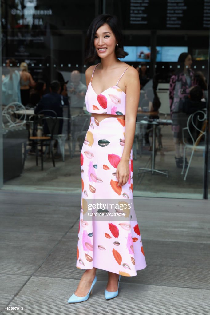 Nicole Warne wearing Alice Mccall top and skirt and Giovanni Rossi shoes at Mercedes-Benz Fashion Week Australia 2014 at Carriageworks on April 10, 2014 in Sydney, Australia.