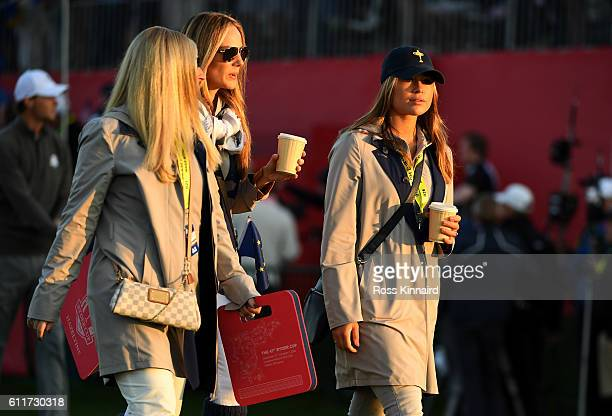 Nicole Willett Erica Stoll and Eva Bossaerts walk off the first tee during morning foursome matches of the 2016 Ryder Cup at Hazeltine National Golf...