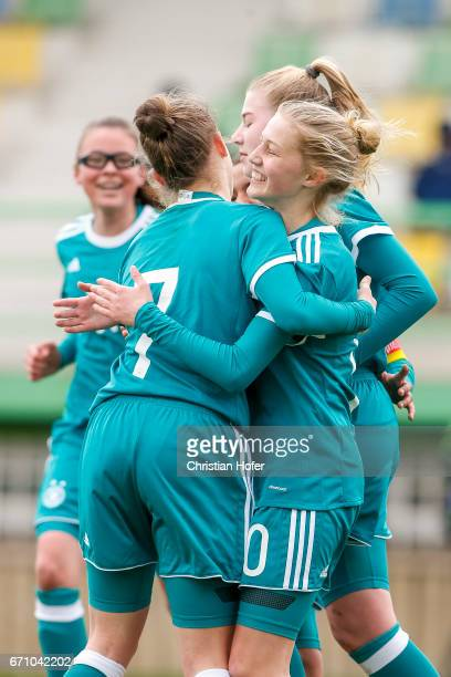 Nicole Woldmann and Sophie Krall of Germany celebrate after scoring during the Under 15 girls international friendly match between Czech Republic and...