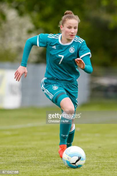 Nicole Woldmann of Germany controls the ball during the Under 15 girls international friendly match between Czech Republic and Germany on April 19...