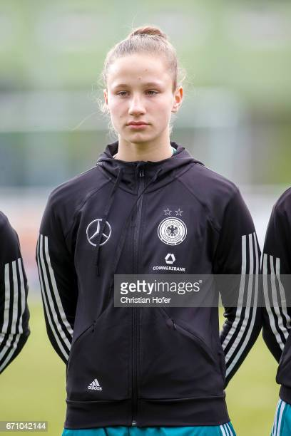 Nicole Woldmann of Germany is seen during the national anthem prior to the Under 15 girls international friendly match between Czech Republic and...