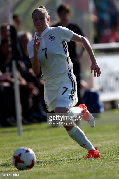 Nicole Woldmann of Germany runs with the ball during the U15 girl's international friendly match between Germany and Netherlands at Getraenke...