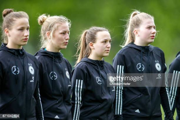Nicole Woldmann Sophie Krall Joana Weber and Lina Katharina Vianden of Germany line up during the national anthem prior to the Under 15 girls...