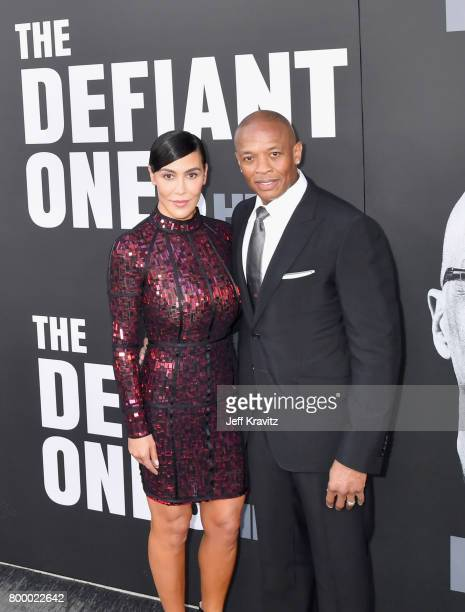 Nicole Young and Dr Dre attend HBO's 'The Defiant Ones' premiere at Paramount Studios on June 22 2017 in Los Angeles California