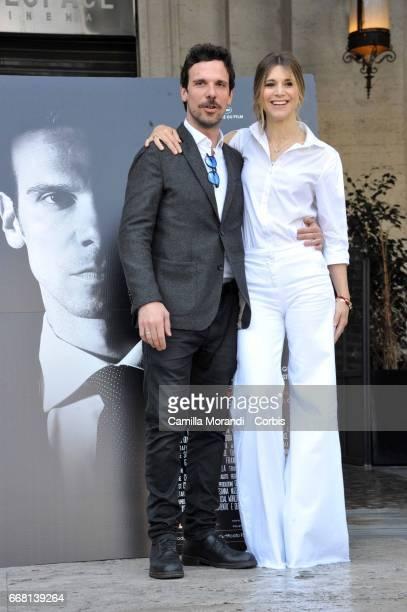 Nicoletta Romanoff and Francesco Montanari attend 'Le Verita' Phorocall In Rome on April 13 2017 in Rome Italy