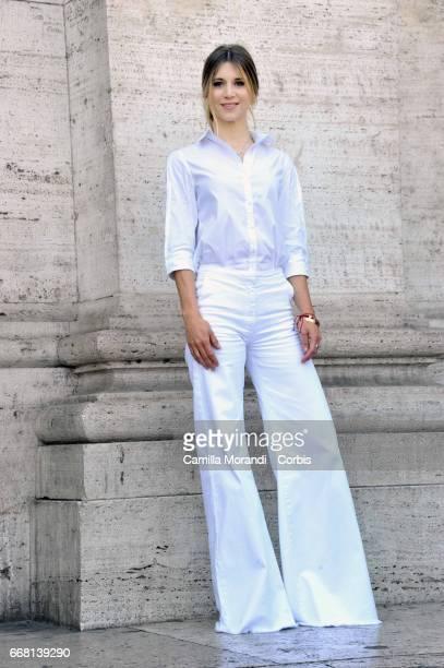 Nicoletta Romanoff attends 'Le Verita' Phorocall In Rome on April 13 2017 in Rome Italy
