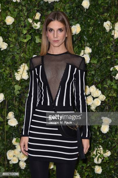 Nicoletta Romanoff attends the Balmain show as part of the Paris Fashion Week Womenswear Spring/Summer 2018 on September 28 2017 in Paris France